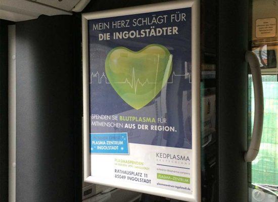 Buswerbung Innenwebung Plakat für Plasma-Zentrum Ingolstadt