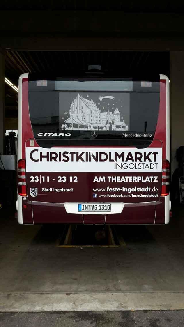 Heckflächenwerbung Christkindlmarkt