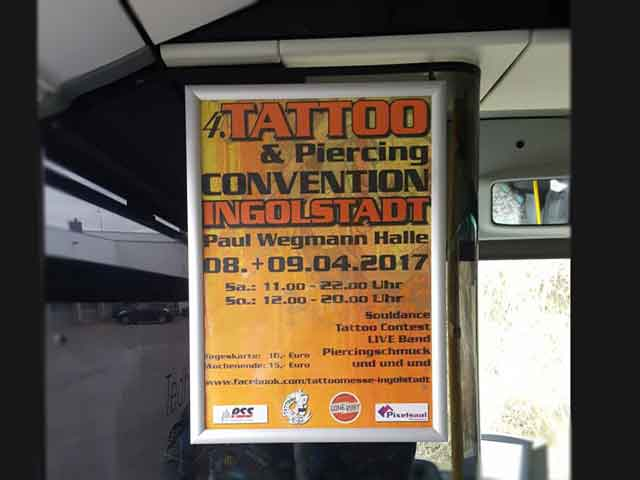 Busplakat Tatto & Piercing Convention 2017 Ingolstadt