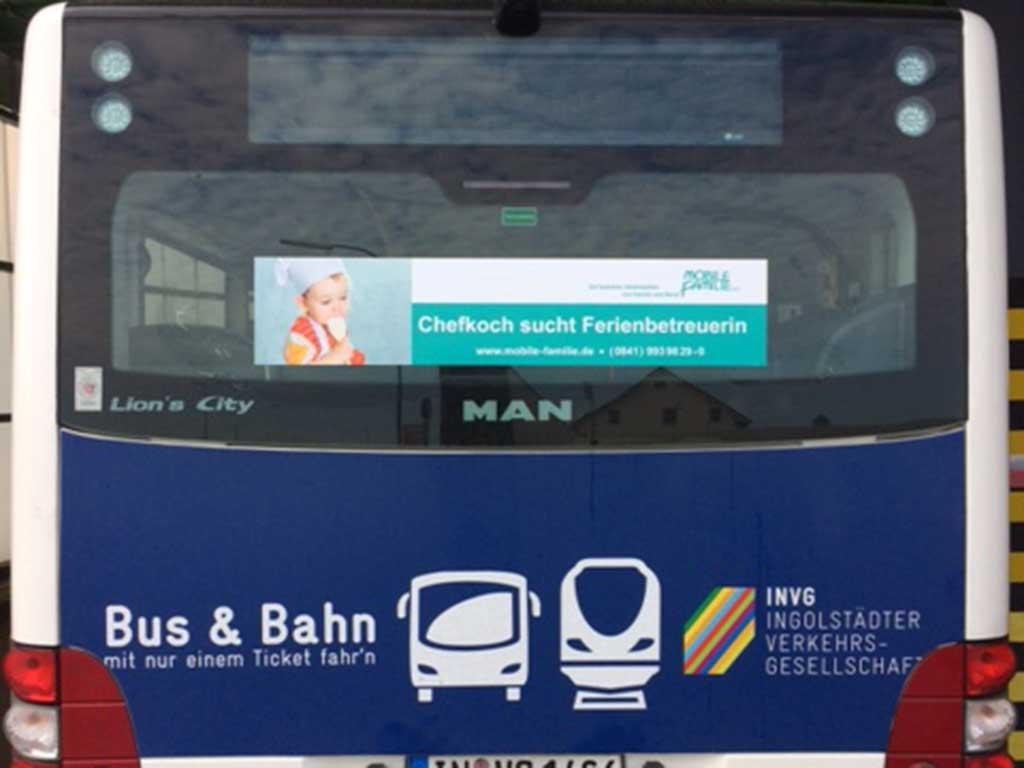 Werbung Buswerbung Heckscheibenfolie ibw
