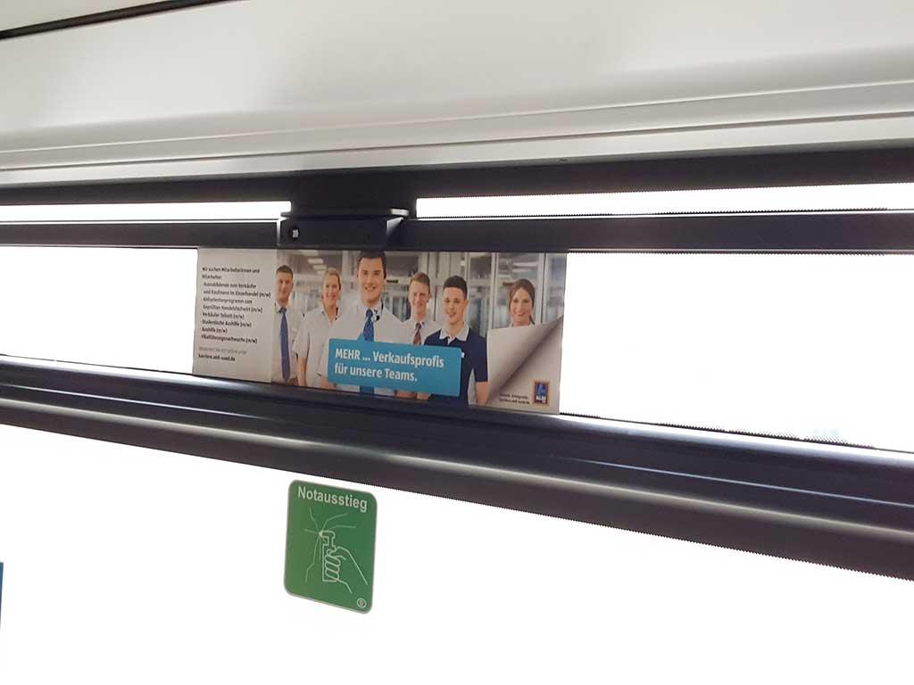 Werbung Buswerbung Seitenscheibenfolie Aldi ibw